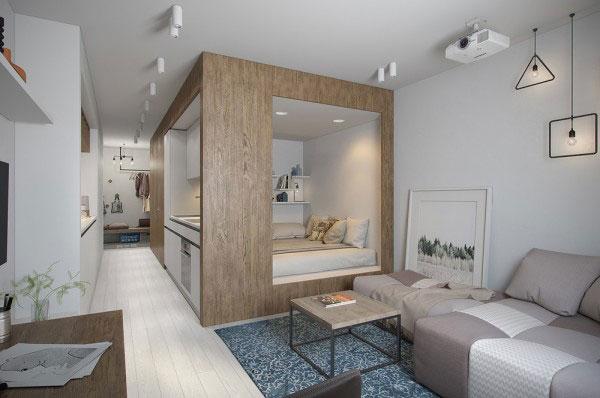 Garsoniera de 30 mp cu functiunile unui apartament de 2 camere