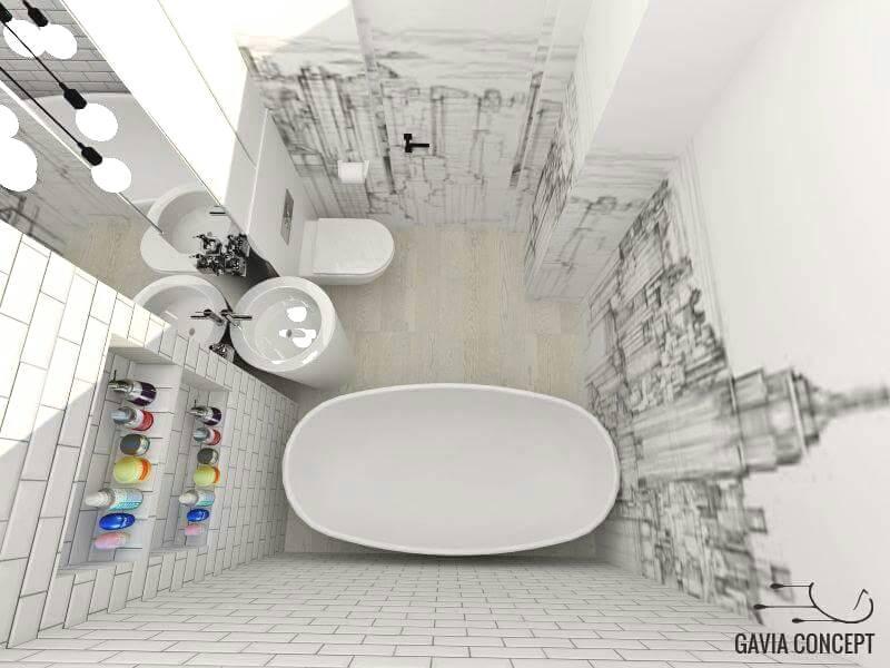 baie cu pereti pictati