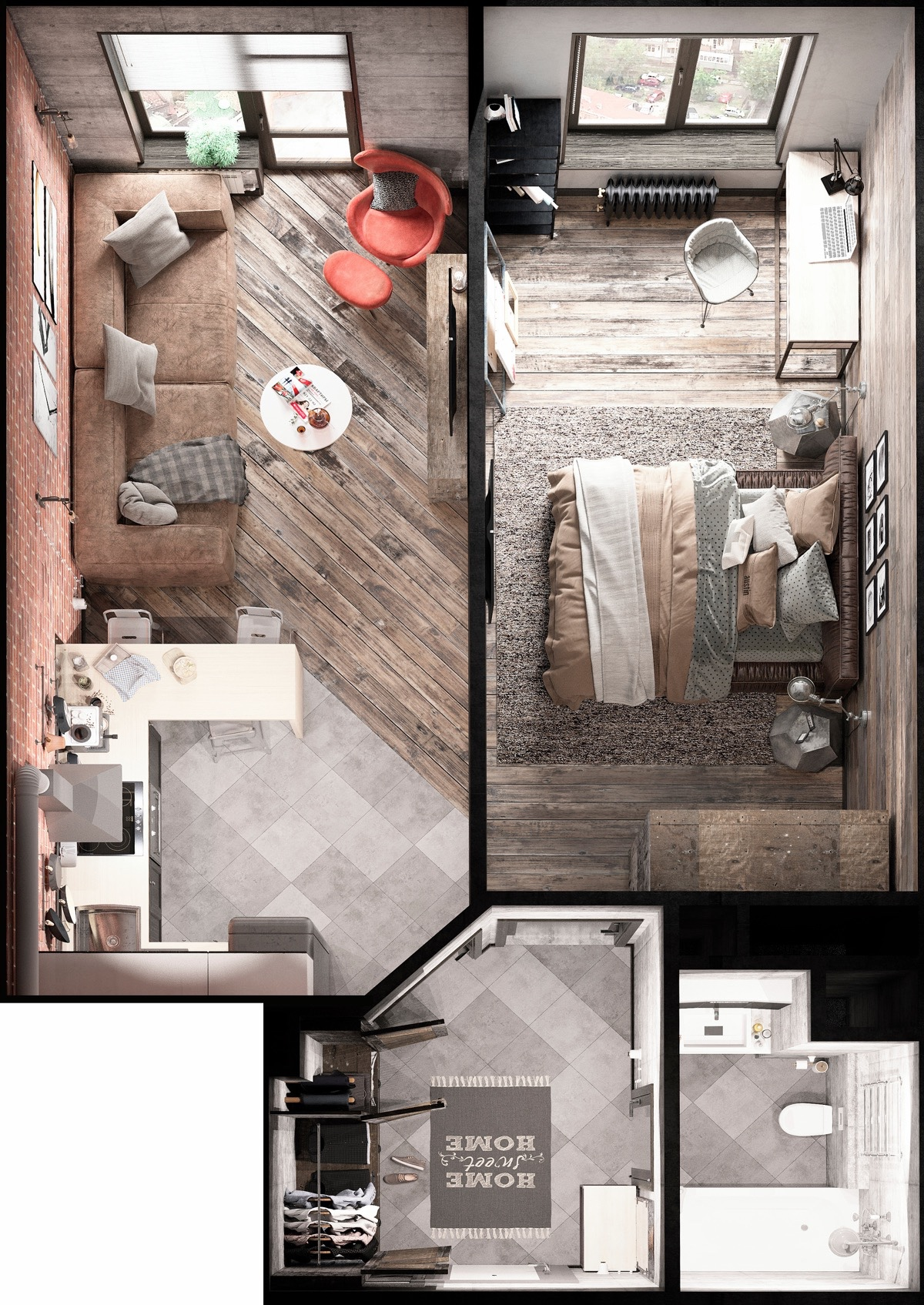 plan apartament mic amenajat creativ