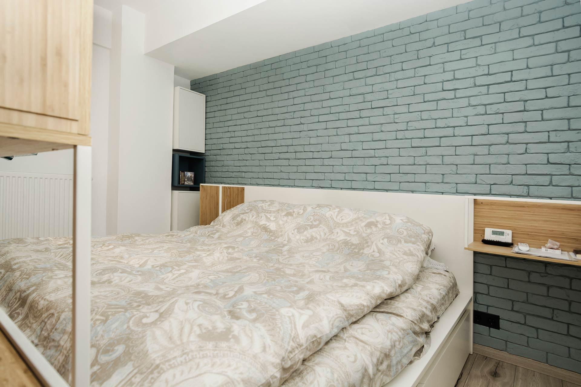 apartament cu look nordic dormitor
