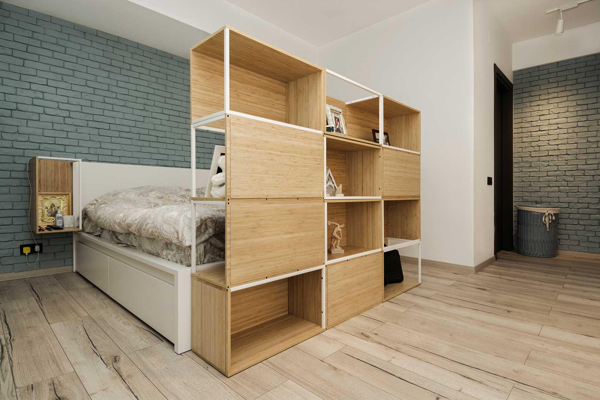 apartament cu look nordic si accente industriale dormitor
