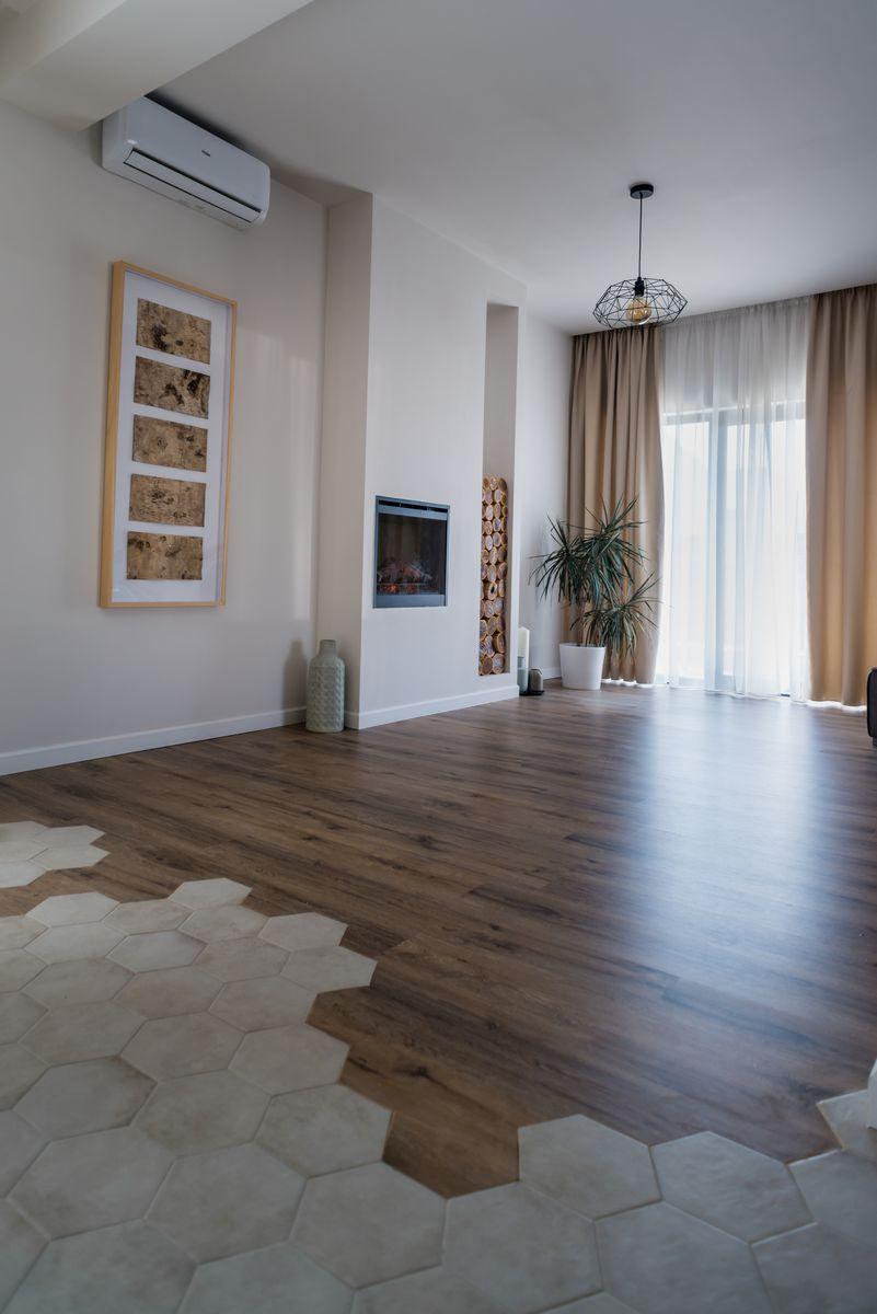 interior minimalist gresie hexagonala