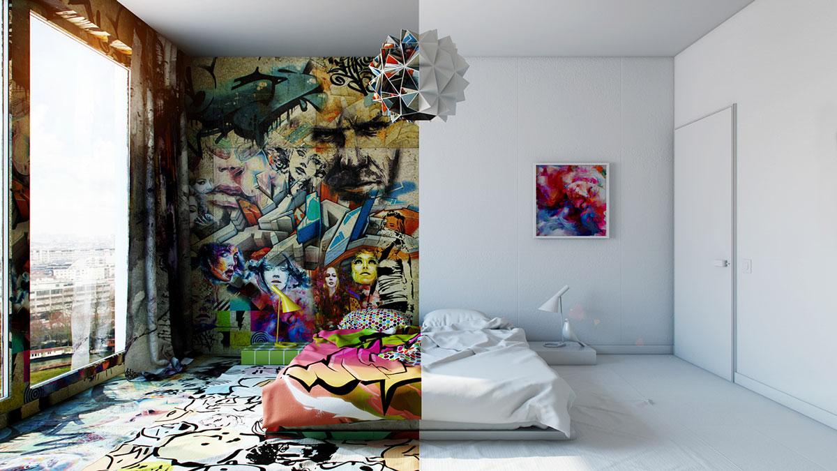 Amenajare artistica: jumatate graffiti, jumatate minimalist. Rezultatul este WOW!