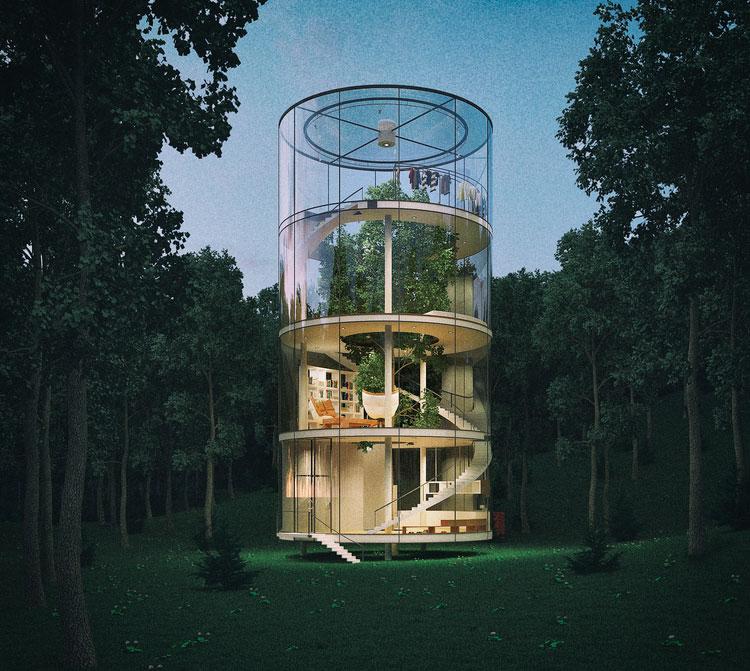 Casa cilindrica din sticla, construita in jurul unui copac