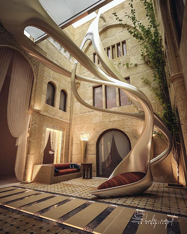 Curte interioara cu design excentric